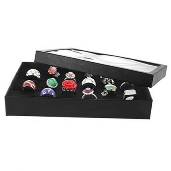 Porte bijoux boite à bague plateau carton et couvercle (24 bagues) Noir - Photo n°1