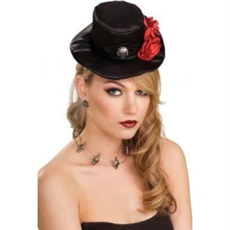 Mini Chapeau Haut de Forme Gothique Noir Avec Roses
