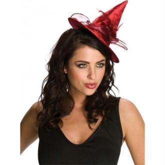 Mini chapeau sorcière rouge femme