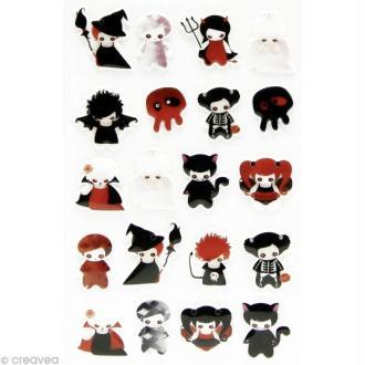 Sticker fantaisie Petit démon x 20 - 1 planche 7,5 x 12 cm