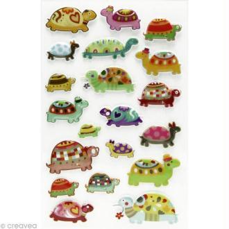 Sticker fantaisie Tortue x 20 - 1 planche 7,5 x 12 cm