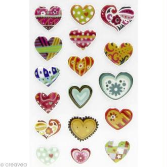Sticker fantaisie Coeur x 17 - 1 planche 7,5 x 12 cm