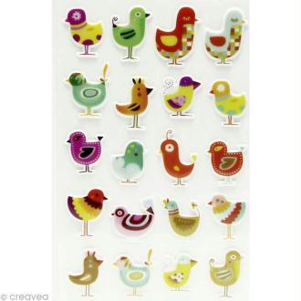 Sticker fantaisie Oiseaux x 20 - 1 planche 7,5 x 12 cm