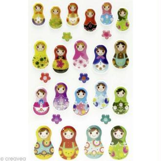 Sticker fantaisie Poupée russe x 26 - 1 planche 7,5 x 12 cm