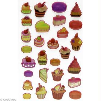 Sticker fantaisie Petit gâteau x 28 - 1 planche 7,5 x 12 cm