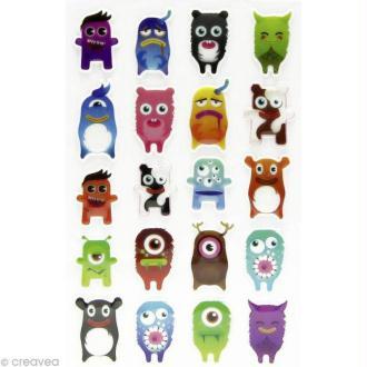 Sticker fantaisie Monstre gentil x 20 - 1 planche 7,5 x 12 cm