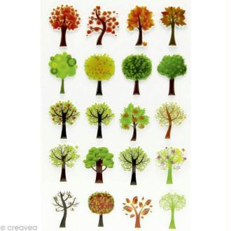 Sticker fantaisie Arbre x 20 - 1 planche 7,5 x 12 cm