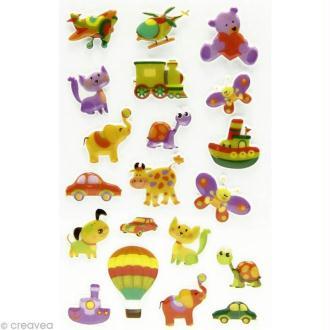 Sticker fantaisie Joujou x 20 - 1 planche 7,5 x 12 cm