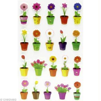 Sticker fantaisie Fleur x 20 - 1 planche 7,5 x 12 cm