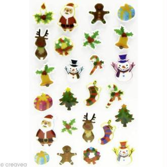 Sticker fantaisie Noël x 25 - 1 planche 7,5 x 12 cm