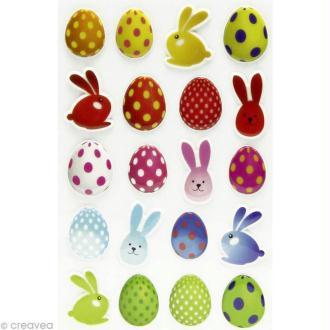 Sticker fantaisie Pâques x 20 - 1 planche 7,5 x 12 cm