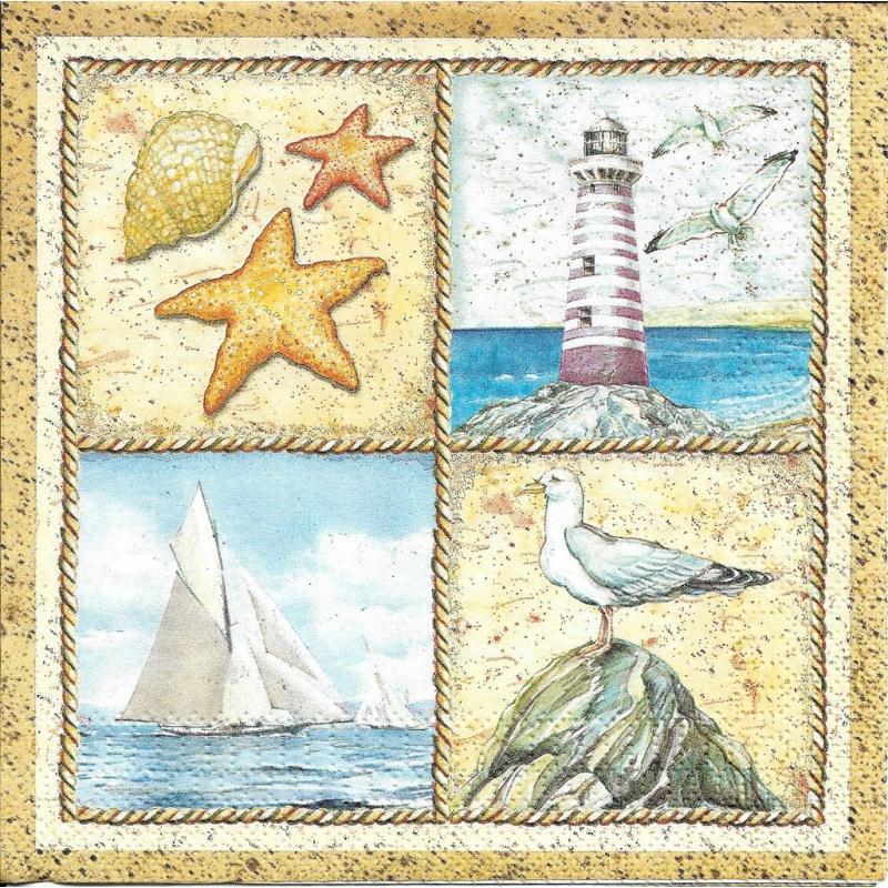 4 serviettes en papier vignettes bord de mer format lunch - Interieur bord de mer ...