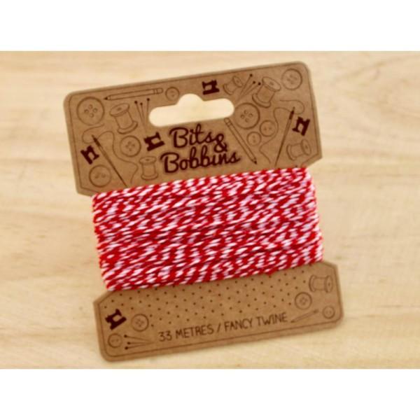 Baker twine, ficelle, rouge et blanc, corde, emballage cadeaux - Photo n°2