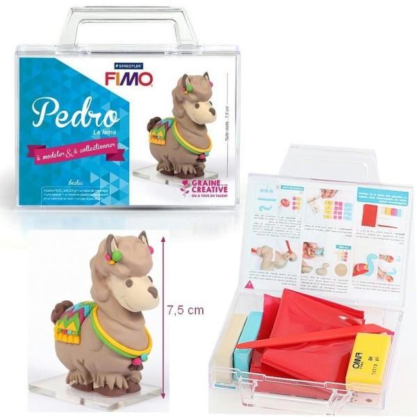 Kit figurine pâte Fimo, Pedro Le Lama, 4 pains Fimo et accessoires, 7,5 cm de haut, animal à modeler - Photo n°1