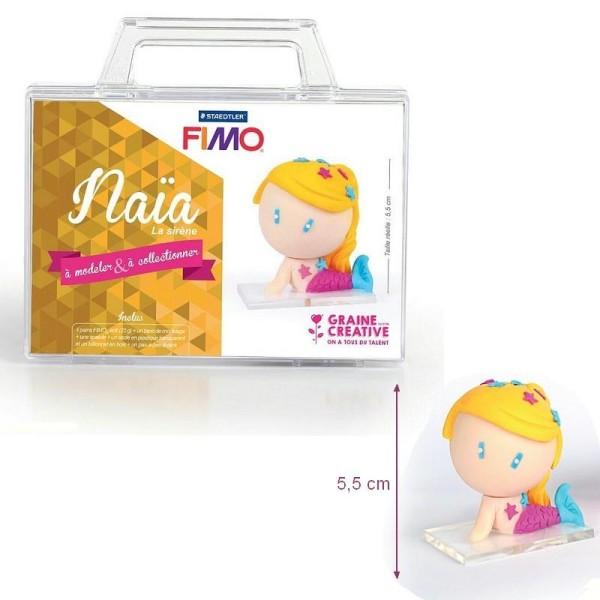Kit figurine pâte Fimo, Naia La Sirène, 4 pains Fimo et accessoires, 5,5 cm de haut, à modeler - Photo n°1
