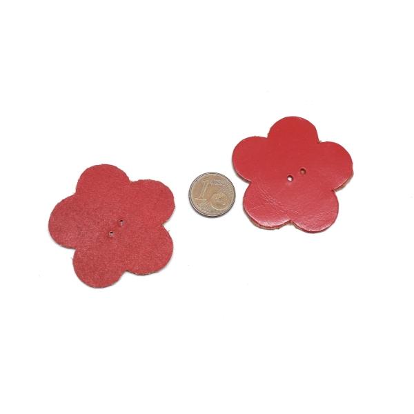 10 Fleurs En Simili Cuir De Couleur Rouge 4cm - Photo n°2