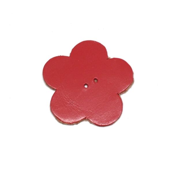 10 Fleurs En Simili Cuir De Couleur Rouge 4cm - Photo n°1