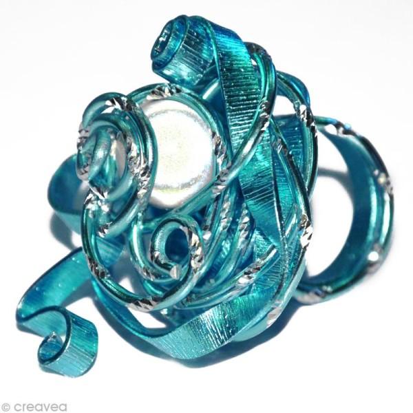 Fil alu ciselé Effet diamant 2 mm Turquoise x 5 m - Photo n°2