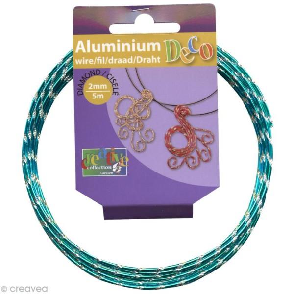 Fil alu ciselé Effet diamant 2 mm Turquoise x 5 m - Photo n°1