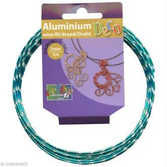 Fil alu ciselé Effet diamant 2 mm Turquoise x 5 m