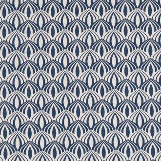Tissu coton spring graphic - Bleu pétrole- Par 50cm
