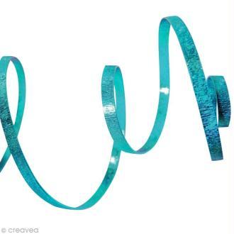 Fil alu plat Strié 5 mm Turquoise x 5 m