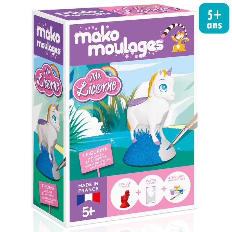 coffret moulage en pl tre ma licorne mako moulages 1 moule moulage enfant creavea. Black Bedroom Furniture Sets. Home Design Ideas