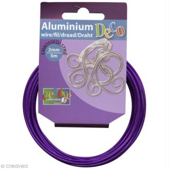 Fil alu Strié 2 mm Lilas x 5 m