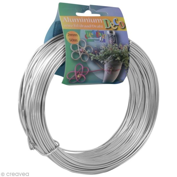 Fil aluminium 2 mm Argent x 50 m - Photo n°1