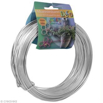 Fil aluminium 2 mm Argent x 50 m
