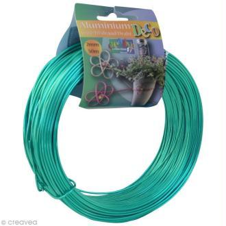 Fil aluminium 2 mm Turquoise x 50 m