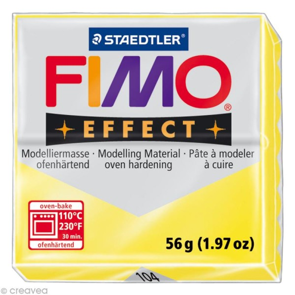 Pâte Fimo Effect Jaune Translucide 104 - 56 gr - Photo n°1