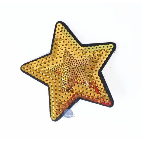 Ecusson brodé patch thermocollant étoile dorée star sequins 9 cm