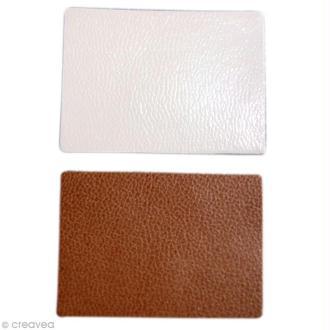 Rectangle en cuir blanc et marron x 20