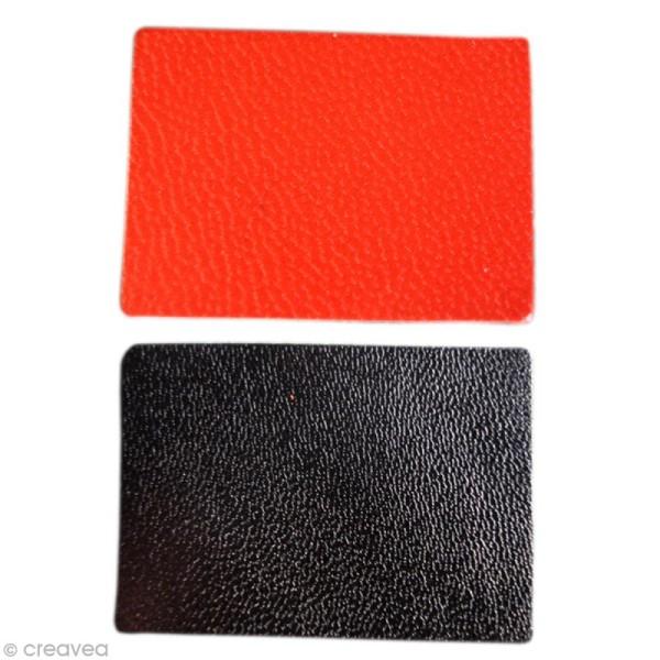 Rectangle en cuir rouge et noir x 20 - Photo n°1