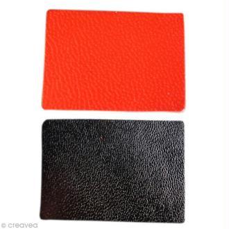 Rectangle en cuir rouge et noir x 20