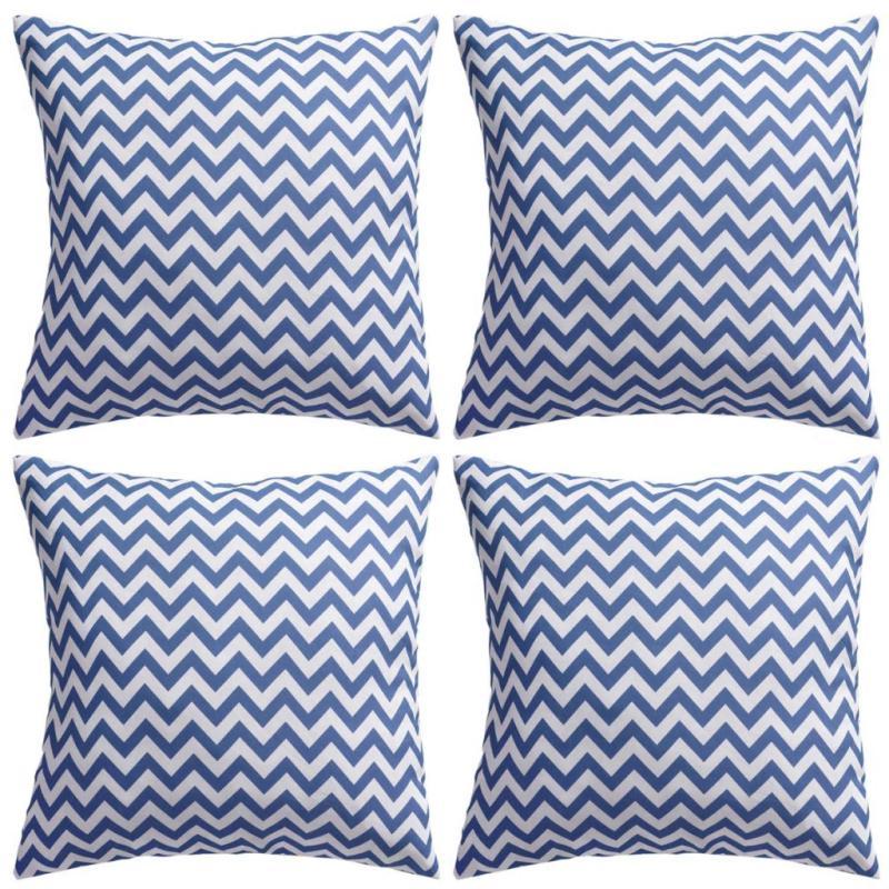 Vidaxl Oreiller D'extérieur 4 Pcs Impression Zigzag 45 X 45 Cm Bleu Coussins Creavea