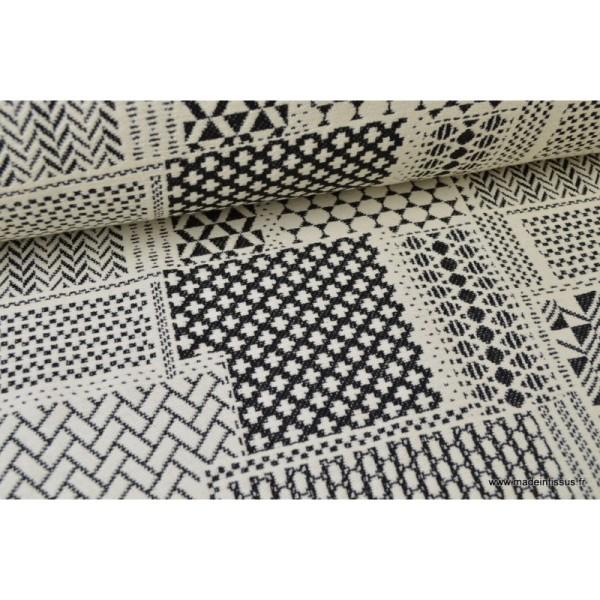 Tissu ameublement jacquard PATCH Noir et Blanc x 1m - Photo n°2
