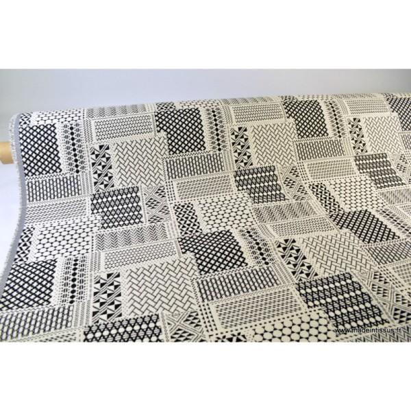 Tissu ameublement jacquard PATCH Noir et Blanc x 1m - Photo n°3