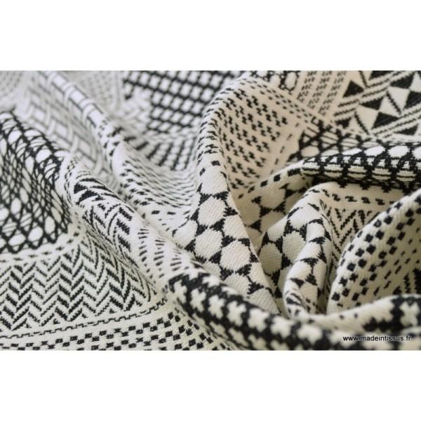 Tissu ameublement jacquard PATCH Noir et Blanc x 1m - Photo n°4