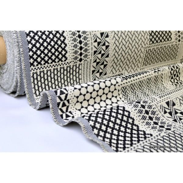 Tissu ameublement jacquard PATCH Noir et Blanc x 1m - Photo n°1