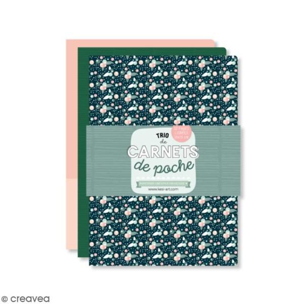 Lot de carnets de poche - Vert, rose, fleuri - 10 x 15 cm - 3 pcs - Photo n°1