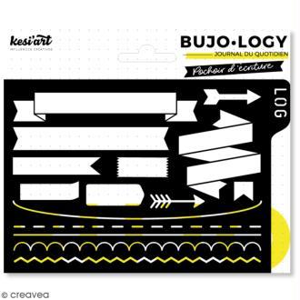 Pochoir d'écriture pour bullet journal - Bujo Logy - Bannières et cadres
