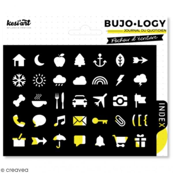 Pochoir d'écriture pour bullet journal - Bujo Logy - Loisirs et météo - Photo n°1