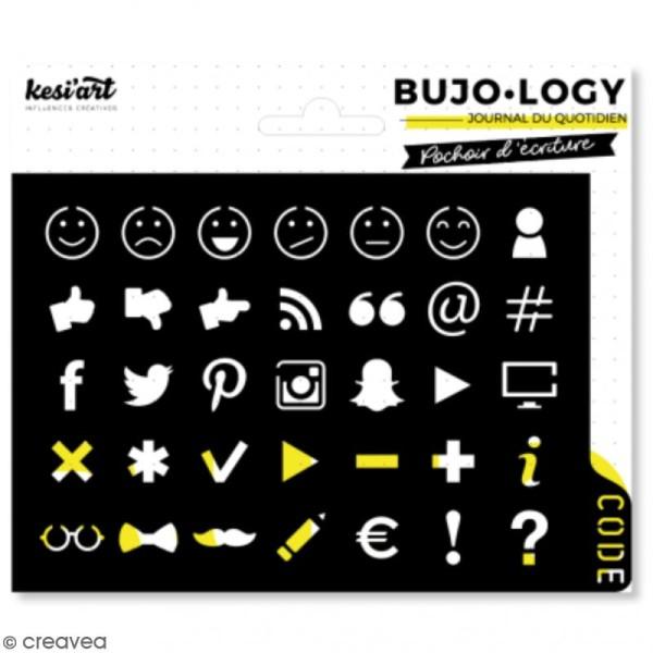 Pochoir d'écriture pour bullet journal - Bujo Logy - Smiley - Photo n°1