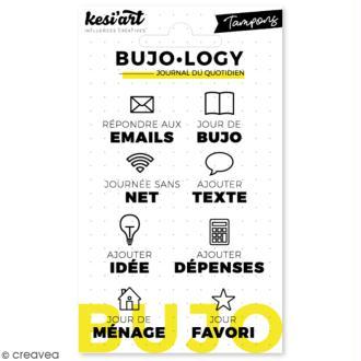 Tampon transparent pour bullet journal - Bujo Logy - Icônes et notes - 8 pcs
