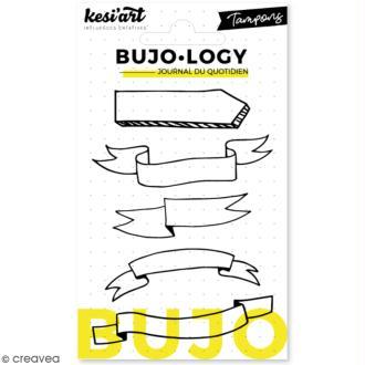 Tampon transparent pour bullet journal - Bujo Logy - Bannières - 5 pcs