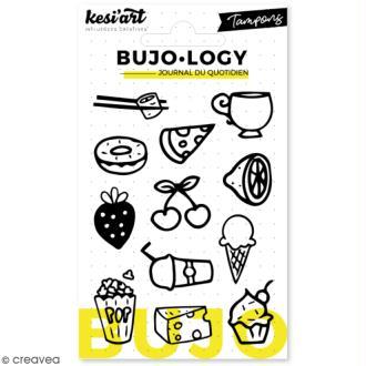 Tampon transparent pour bullet journal - Bujo Logy - Nourriture et boissons - 12 pcs