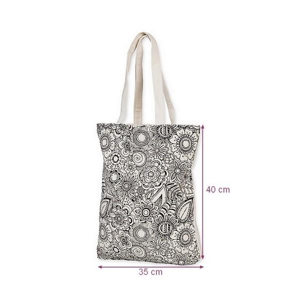 Sac à lanières en Coton épais à colorier blanc et noir DIY, 35 x 40 cm, à customiser avec feutres ou - Photo n°1