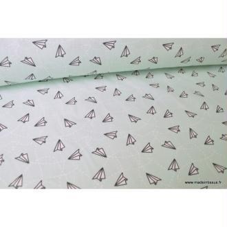 Tissu 100%coton imprimé Avions en papier fond Menthe  x1m